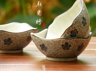 瑕疵折扣 景德镇古风手绘 釉中彩陶瓷餐具 青瓷碗 方碗 饭碗,碗盆,