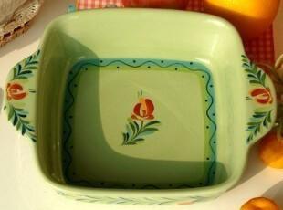 Southern Living手绘陶瓷餐具/法式方形水果盆/沙拉盆/菜盘/A款,碗盆,