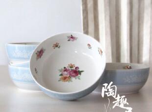 日本套装餐具米饭碗/小菜碗 一套五个日本外贸陶瓷尾单 田园风格,碗盆,