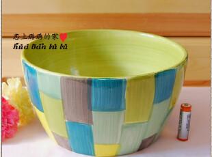 ★外贸手绘 釉下彩陶瓷盆/陶瓷大碗/汤碗 蓝绿灰黄彩色款,碗盆,