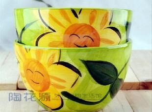 绿底向日葵小碗/创意手绘陶瓷/ZAKKA外贸尾单/小菜沙拉碗/米饭碗,碗盆,