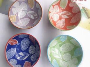 景德镇日式和风4色手绘陶瓷碗叶子米饭碗韩式汤碗瓷器餐具套装,碗盆,