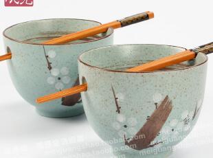 美光烧 日式对碗 陶瓷餐具 手绘梅花碗 礼品碗套装 面碗 出口日本,碗盆,