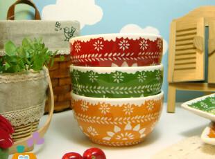碗 手绘镂空花 陶瓷 韩式饭碗/汤碗/米饭碗(3色,碗盆,