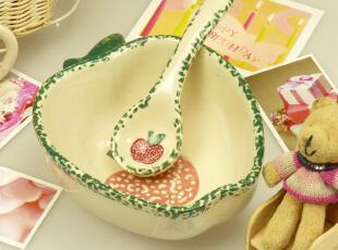 环保釉中彩 外贸陶瓷餐具 冰裂釉 可爱苹果造型 碗 勺 套装,碗盆,