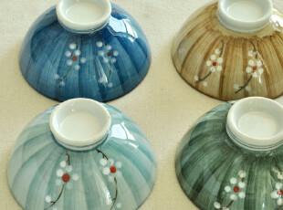 禅瓷西.四色梅语--手绘日式和风陶瓷餐具套装米饭碗4枚入.,碗盆,