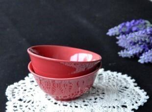 冲钻特价 外贸陶瓷 红色 小号 饭碗 海鲜汤碗 火锅料碗 少量饭碗,碗盆,