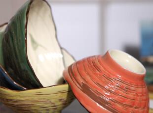 日式和风 一家子系列陶器质感 陶瓷面碗五件套 纯手工,碗盆,