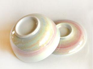 和风日式珠光贝壳釉彩金边细瓷盖碗炖盅糖罐12.2厘米,碗盆,