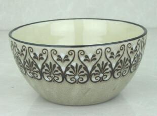 外贸 复古 手绘 彩釉 陶瓷碗 拉面碗 粥碗 汤碗 泡面碗 15.4cm,碗盆,