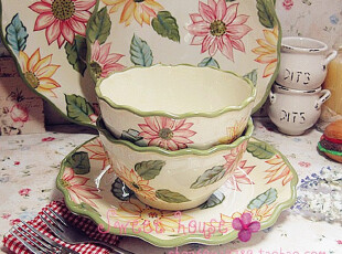 LONGABERGER外贸陶瓷西餐餐具沙拉汤泡面饭碗彩绘太阳花波浪圆碗,碗盆,