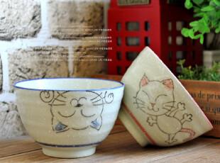 千度悠品 日式和风 日本陶瓷餐具 招财猫 2入点心碗+筷子礼盒,碗盆,