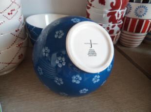 宜家风外贸陶瓷 韩式 简约 蓝底白花 5.5寸饭碗 面碗 粥碗,碗盆,