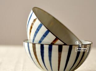 伊莎世家 日式和风餐具 手绘家用碗 陶瓷米饭碗菜碗汤碗-竖条纹,碗盆,