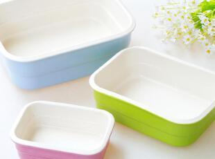 余单陶瓷餐具 烤箱微波炉用糖果色釉长方深烤盘 汤盘 烤碗 沙拉碗,碗盆,