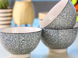 景德镇陶瓷餐具 青花瓷 蓝点花 日式和风系列 陶瓷碗套装 米饭碗,碗盆,