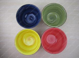 外贸手绘陶瓷 螺旋笔刷纹理/四色/红/黄/绿/蓝/汤碗/饭碗,碗盆,