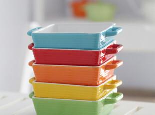 【爱味食器】方形彩虹烤碗色釉陶瓷餐具 390g,碗盆,