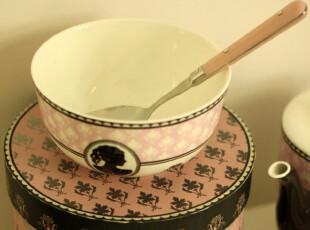 独家设计 韩国 粉红女孩 骨瓷碗 汤碗 面碗 早餐碗,碗盆,