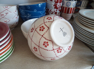 宜家风外贸陶瓷韩式 简约 手绘红花 5.5寸饭碗点心碗粥碗,碗盆,