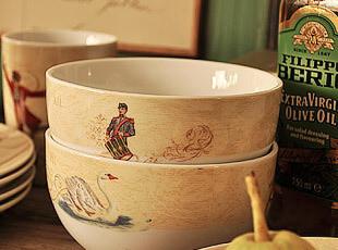 the 12 days of christmas 复古陶瓷 圆碗 汤碗 面碗,碗盆,