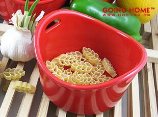 瑞切尔雷 双耳小碗 陶瓷小碗 碗 饭碗 陶瓷 外贸 大红色,碗盆,