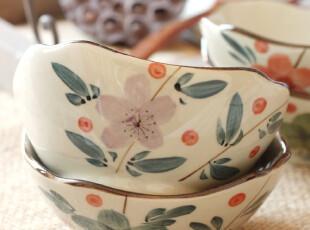 京都手彩.木槿花-四色 复古四角碗陶瓷米饭碗拆售Y093,碗盆,