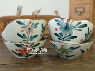 京都手绘.出口日本原单 陶瓷餐碗 日式米饭碗 礼盒装.小邹菊系列,碗盆,