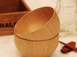 H066 zakka日式环保栗木原木碗儿童碗小孩碗木质碗 多款选,碗盆,