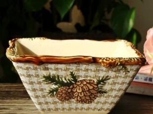 美克美家乡村/圣诞款/浮雕陶瓷餐具/方碗/小菜碗/沙拉碗/大号,碗盆,