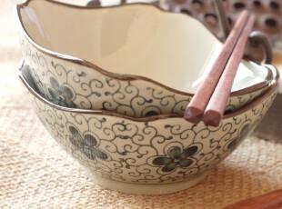 京都手彩.千日草-锦簇  复古四角碗陶瓷米饭碗拆售Y094,碗盆,