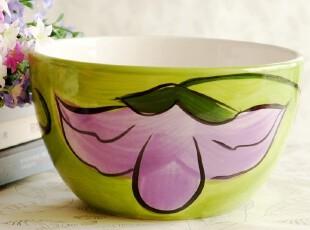清新绿色韩式花方便面碗 创意大碗手绘陶瓷 餐具拉面碗泡面碗,碗盆,