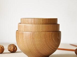 栗木 手工打磨 木质小碗 饭碗  木碗 原色无漆 (一家三口),碗盆,