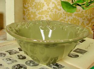 【碗】外单做旧风格奢靡复古调碗\餐碗 米白橄榄绿两色可选,碗盆,