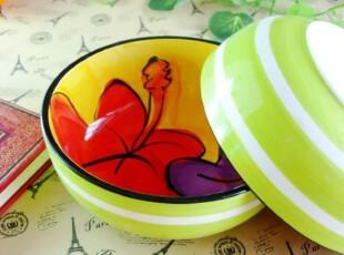 韩式餐具红色紫色花朵 绿色浅碗 创意礼物米饭碗 外贸手绘陶瓷,碗盆,