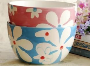 粉色蓝色花情侣对碗 日式韩式泡面碗大碗创意碗陶瓷餐具 外贸原单,碗盆,