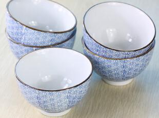 景德镇 陶瓷餐具 中国风 浅蓝雪花米饭碗  整套5个,碗盆,