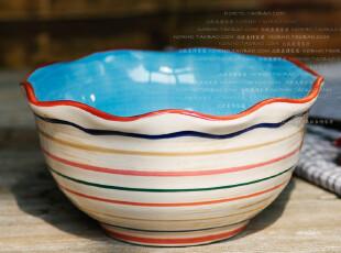北欧表情/外贸手绘彩陶/玛尔诺波纹碗,4色可选,碗盆,