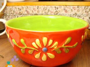【瑕疵特卖】外贸陶瓷手绘浮雕韩式碗/汤碗/粥碗,碗盆,