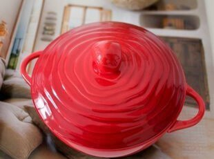 法国MEDARD DE NOBLAT红色带盖饭碗/甜品碗/炖品碗,碗盆,