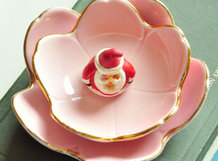 C'designer独家 .描金款樱花花瓣造型点心小碟.坚果碗.寿司小碗,碗盆,