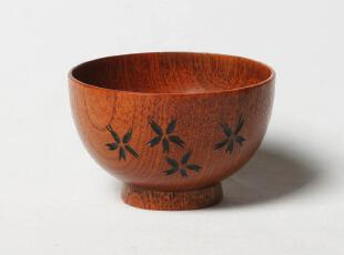杂卡正品【木碗】ZAKKA日系木制餐具 11cm雕花儿童小饭碗,碗盆,