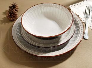 外贸陶瓷餐具 欧式西餐瓷器 浮雕宫廷风 盘子圆盘 餐盘 面碗 汤碗,碗盆,