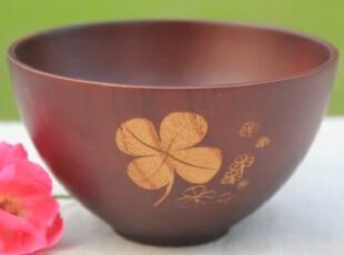 自然的风 天然栗木碗 环保植物漆 四叶草樱花手工雕花木碗汤碗,碗盆,
