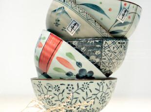TP米子家居品质居家用品餐具 和风釉下彩陶瓷碗礼盒装 5支装,碗盆,
