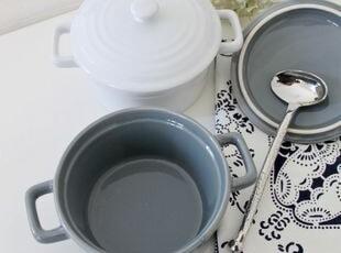 烘焙季:白色/灰色条纹盖双柄烤碗 出口 西餐餐具,碗盆,