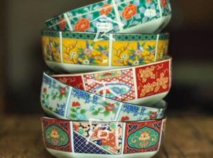 食不同/日本陶瓷餐具/日式和风碗中钵有田烧古伊万里锦赤绘八角碗,碗盆,