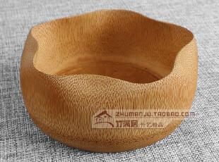 精致炭化梅花形大竹碗|中式竹木碗/天然环保汤碗/面碗/零食瓜子碗,碗盆,