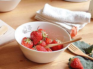 LAWSON小兔子饭碗 白色陶瓷碗 圆碗,碗盆,
