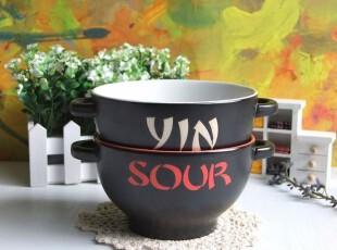 日式 色釉双耳陶瓷碗 面碗 汤碗 大碗 瓷器 日式面碗 两色选 外贸,碗盆,